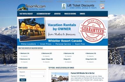 Whistler.ResortAc.com :: Vacation Rental by Owner VRBO Website Project