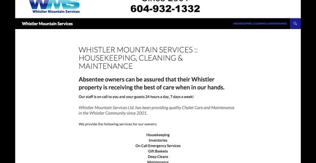 WhistlerMountainServices.com :: Service Company Website